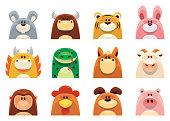 full set vector symbols of Chinese Zodiac animals