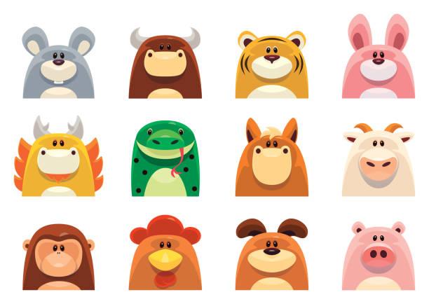 Chinese Zodiac animals full set vector symbols of Chinese Zodiac animals animal stock illustrations