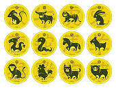 full set vector animals of 12 Chinese Zodiac animals with golden coins
