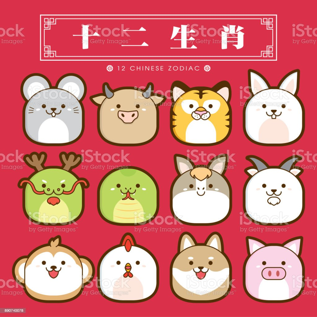 12 chinese zodiac, icon set (Chinese Translation: 12 Chinese zodiac signs: rat, ox, tiger, rabbit, dragon, snake, horse, sheep, monkey, rooster, dog and pig) vector art illustration
