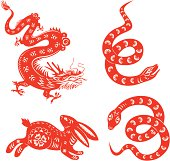 Set of Chinese Astrology signs in traditional papercut technique. Vector design elements.
