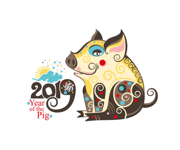 chinese zodiac sign pig 2019. happy chinese new year 2019 year of the pig. - year of the pig stock illustrations, clip art, cartoons, & icons