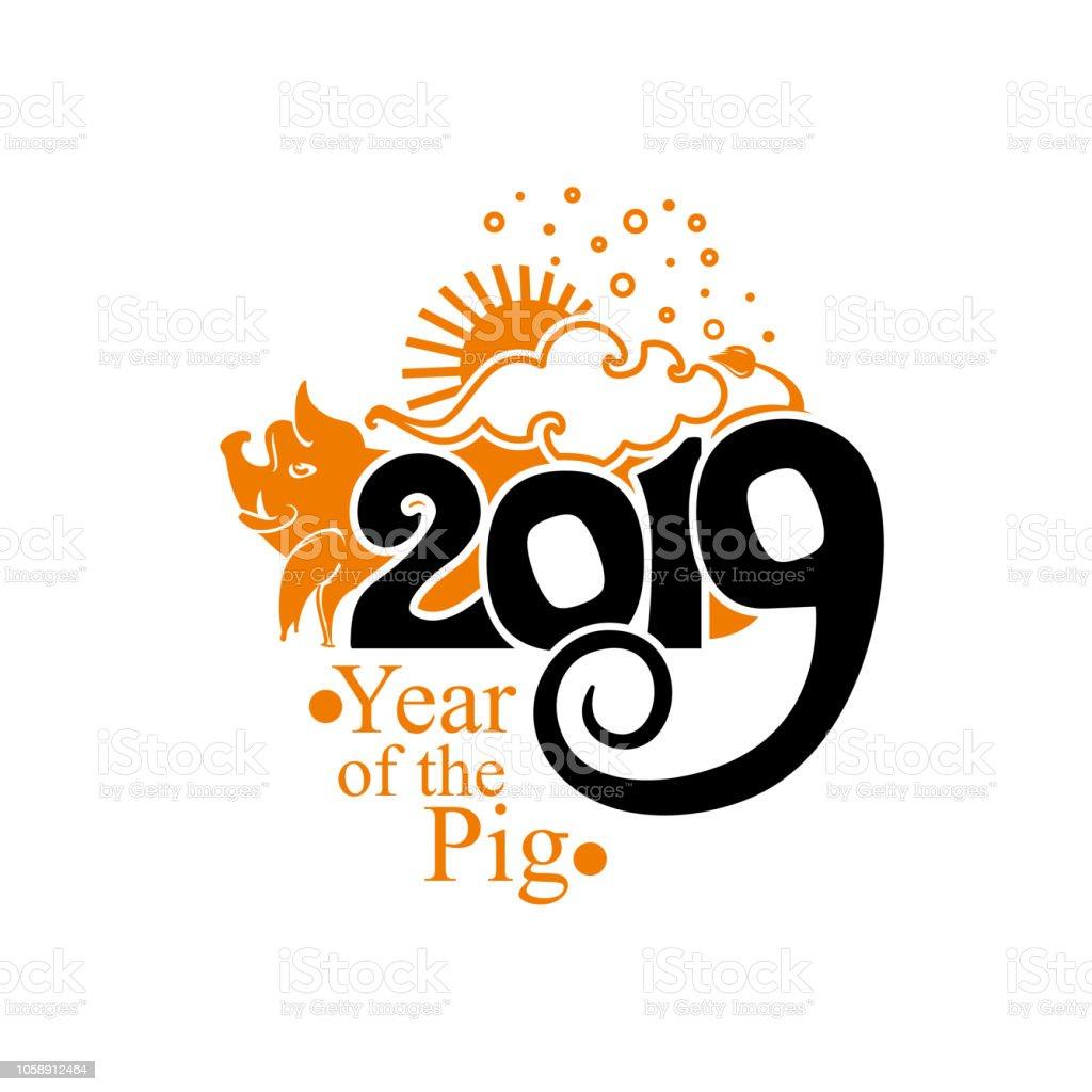 ilustraci n de zodiaco chino signo a o del cerdo 2019 de a o nuevo chino feliz y m s banco de. Black Bedroom Furniture Sets. Home Design Ideas