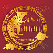 Chinese Zodiac Sign Year of Rat,Red Paper cut rat,Happy Chinese New Year 2020 year of the rat (Translation : Happy Chinese new year)
