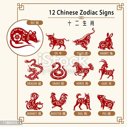 12 Chinese zodiac animals are used to represent years of the lunar calendar, in order are: rat, ox, tiger, rabbit, dragon, snake, horse, goat, monkey, rooster, dog and pig.