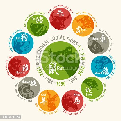 12 Chinese zodiac animals are used to represent years of the lunar calendar, based on a twelve-year cycle, in order are: rat, ox, tiger, rabbit, dragon, snake, horse, goat, monkey, rooster, dog and pig.