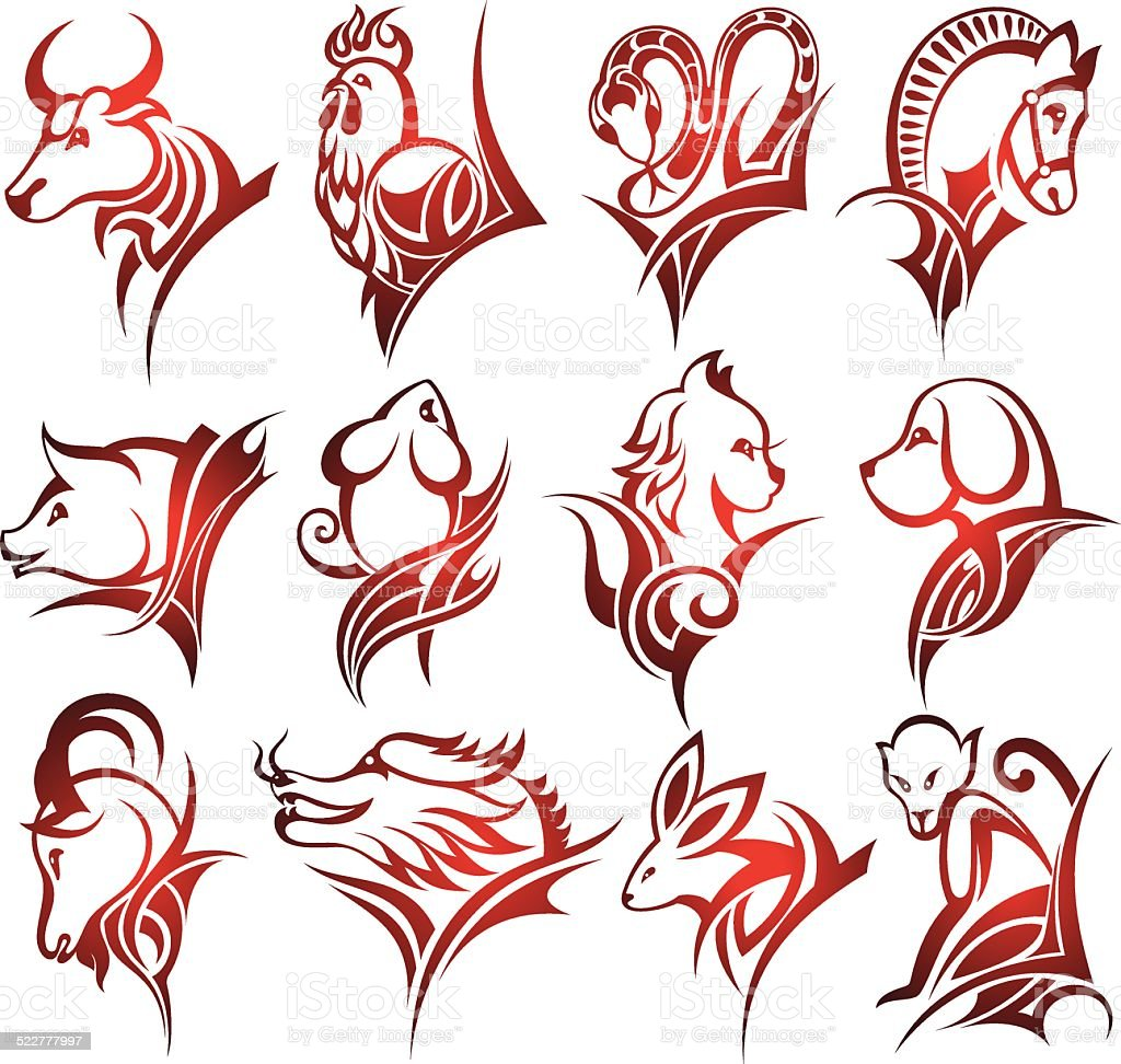 Chinese zodiac signs stock vector. Illustration of