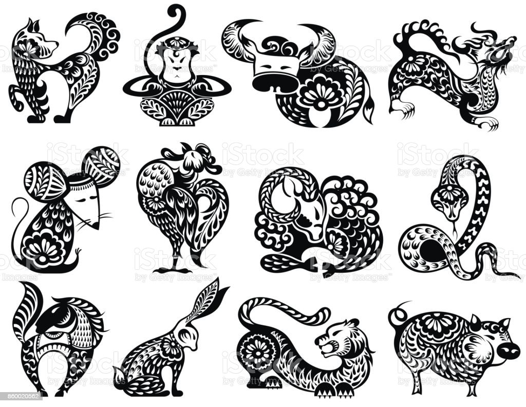 Chinese Zodiac Sign For Year Of Dragon Stock Illustration