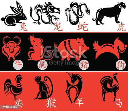 Chinese Zodiac Twelve Animal Symbols Stock Vector Art More Images