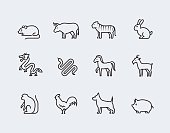 Chinese zodiac vector icons in thin line style