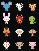 Vector illustration cartoon of cute Chinese zodiac animals symbol.