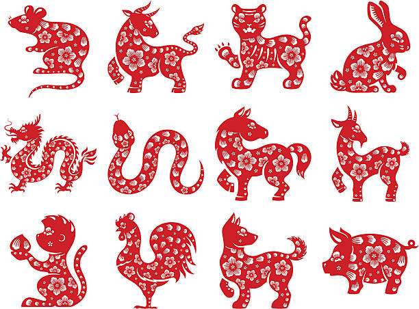 chinese zodiac - year of the pig stock illustrations, clip art, cartoons, & icons