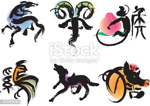 Six of the 12-year cycle of animals (horse, goat, monkey, rooster, dog and pig )which appear in the Chinese zodiac.