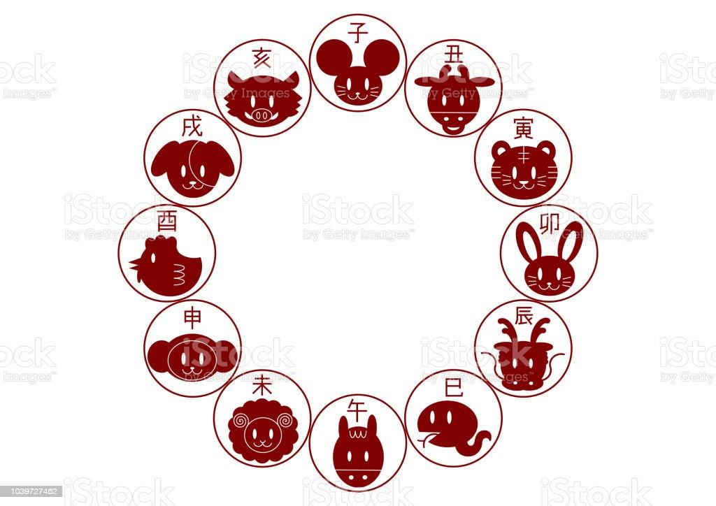 Zodiac chinois, zodiac japonais: cadre circulaire zodiac chinois zodiac japonais cadre circulaire vecteurs libres de droits et plus d'images vectorielles de année du boeuf libre de droits