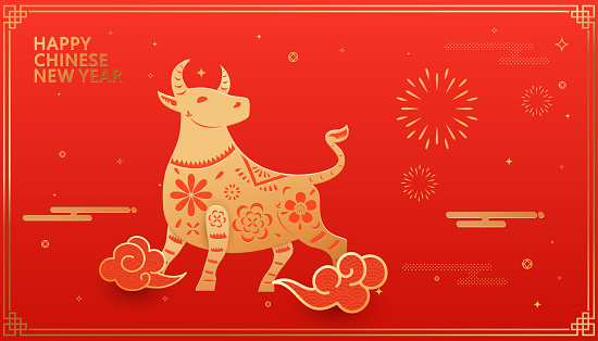 Chinese Zodiac-Ox, handicraft paper-cut style