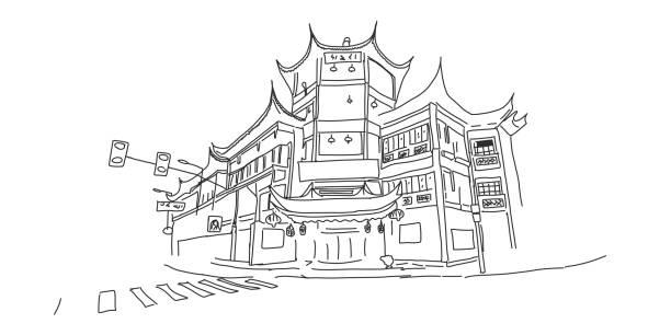 Gebäude im chinesischen Stil, Haus in der Stadtstraße. – Vektorgrafik
