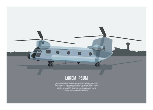 Chinook helicopter on an airport. Simple illustration simple illustration of a chinook helicopter on an airport airport silhouettes stock illustrations