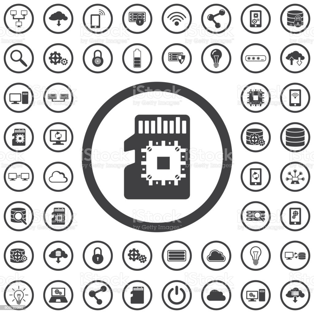 SD chip card icon vector art illustration