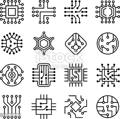 Chip computer. Engineering electronic micro scheme computer system board vector icon set. Processor engineering technology, system cpu outline illustration