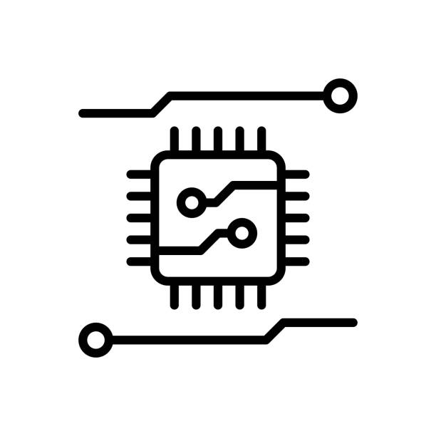 Chip computer Icon for chip, computer, hardware, device, memory, thin, electronic, circuit, technology, motherboard, digitalization digitized stock illustrations