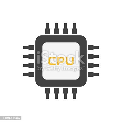 Chip CPU flat style. Computer processor. Microchip electronic technology. Microprocessor sign. EPS 10
