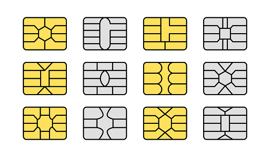 EMV chip. Credit and debit card elements. Vector flat icon set. Smart card golden and silver microchips for terminals and atm. Contactless nfc secure payment technology. Isolated objects