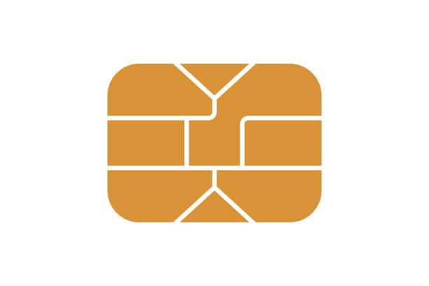 emv chip icon for bank plastic credit or debit charge card. vector illustration - credit card stock illustrations