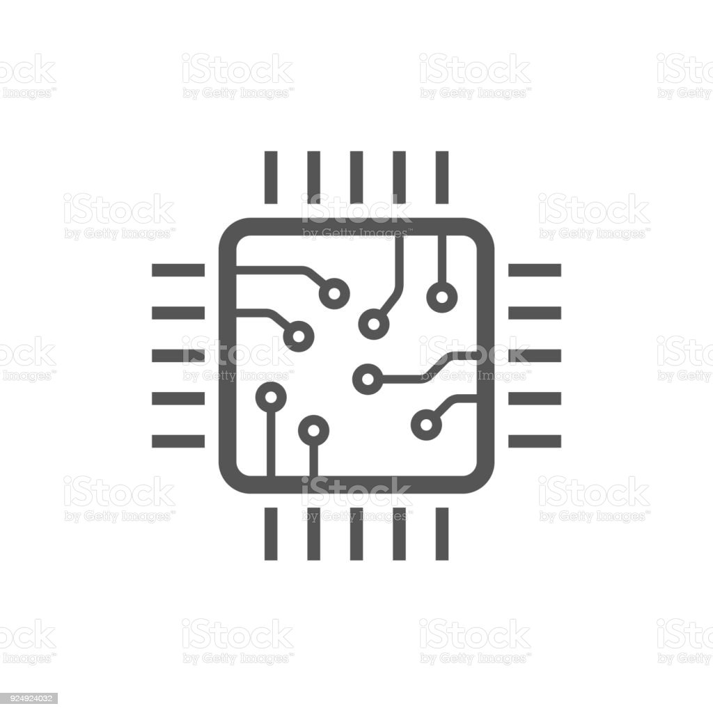 Chip isolated minimal icon. Processor line vector icon for websites and mobile minimalistic flat design. Editable Stroke vector art illustration