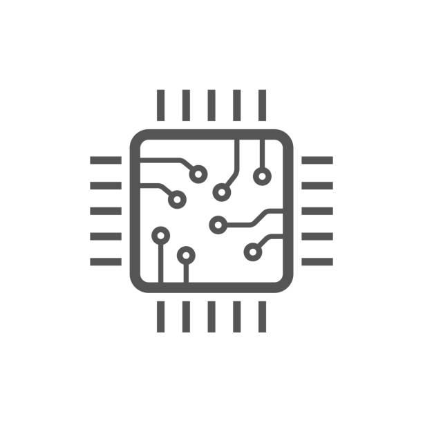 çip izole en az simgesi. i̇şlemci satırı vektör simgesi web siteleri ve mobil minimalist düz tasarım için. düzenlenebilir kontur - cpu stock illustrations
