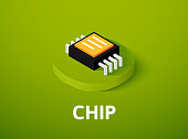 Chip isometric icon, isolated on color background