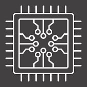 Chip line icon, circuit board and cpu, vector graphics, a linear pattern on a black background, eps 10.