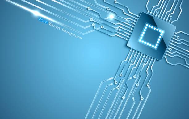 Chip auf blauem Hintergrund – Vektorgrafik
