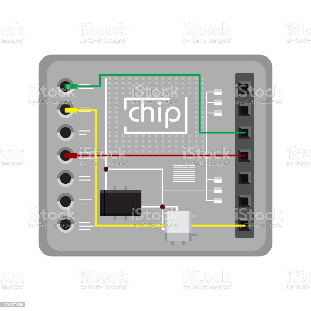 Chip on white background. vector art illustration