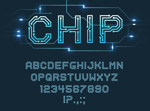 Chip type font, vector alphabet letters and digits