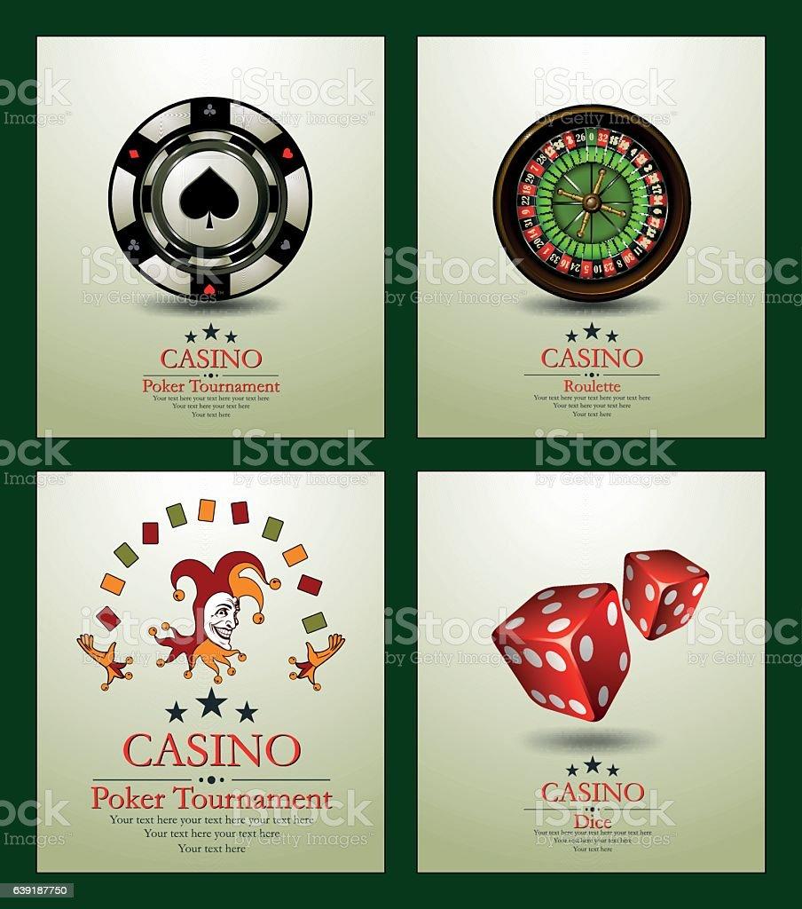 Chip.Casino background.Vip.Vintage.Poker Tournament. Joker. Roulette. Dice. vector art illustration