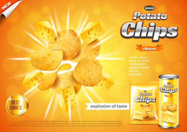 bildbanksillustrationer, clip art samt tecknat material och ikoner med chips-annonser. ost smak explosion vector bakgrund - potatischips