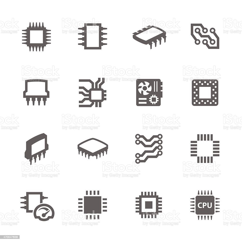 Chips and Microscheme Icons vector art illustration