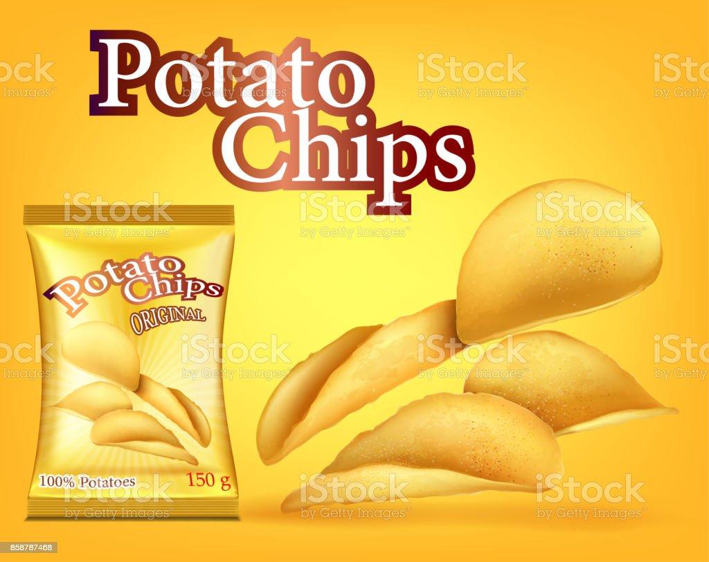 chips box advertising vector art illustration