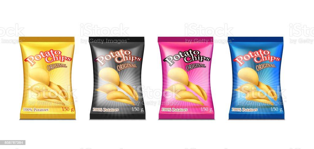 chips boxes set vector art illustration