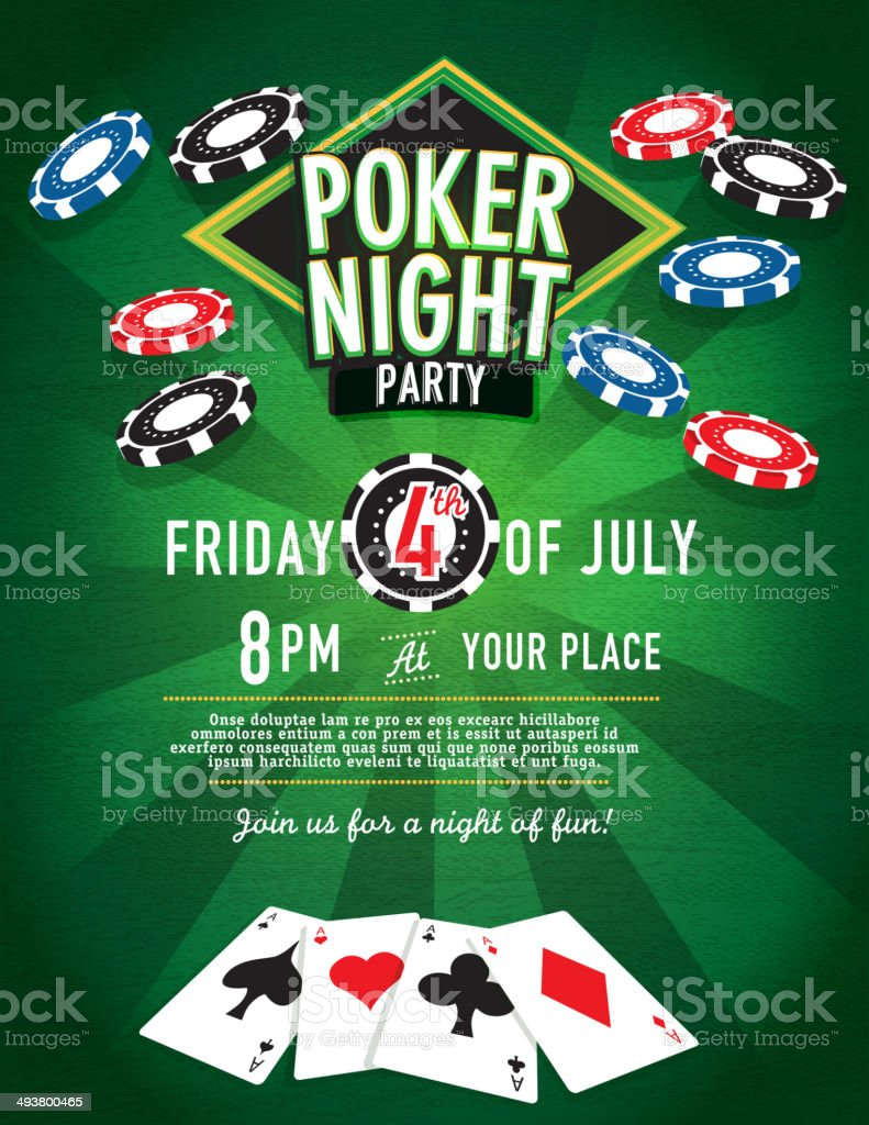 Chips Fall Poker Night Party Casino Invitation Design Template ...