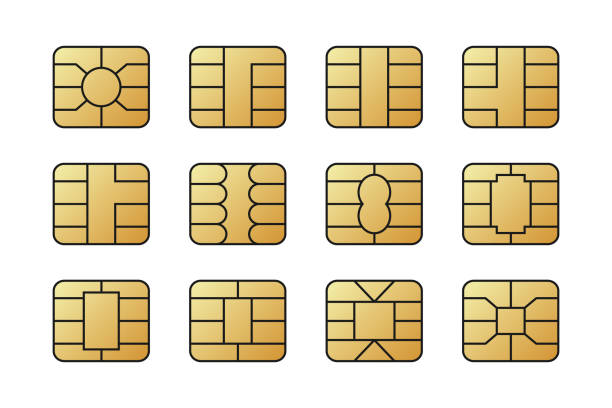 EMV chips for banking plastic card. Digital Nfc technology. EMV chips for banking plastic card. Digital Nfc technology. Bank payment symbols illustration concept. computer chip stock illustrations