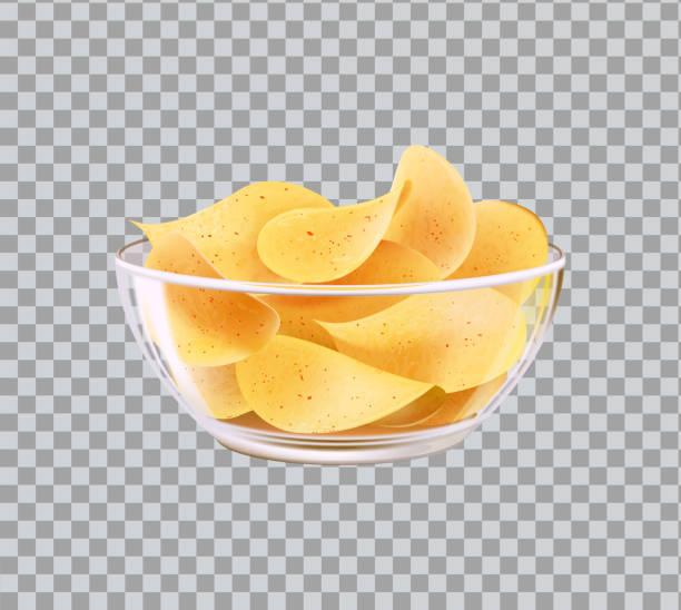bildbanksillustrationer, clip art samt tecknat material och ikoner med chips i glas skål mellanmål till öl snabbmat måltid - potatischips