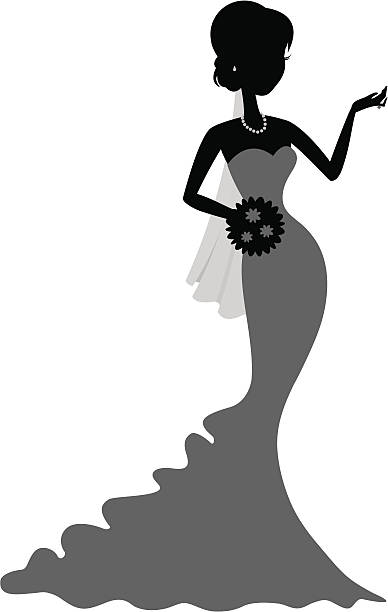 Chique Little Bride The silhouette of a bride holding a bouquet and gesturing. heyheydesigns stock illustrations