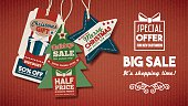 Chiristmas big sale shopping banner with tags on red paper background