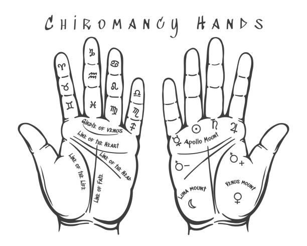 stockillustraties, clipart, cartoons en iconen met handlijnkunde handen illustratie - handpalm