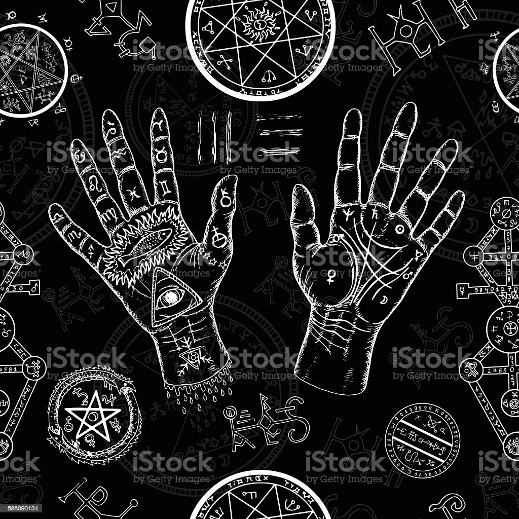 Chiromancy seamless background with human hands and mystic symbols vector art illustration