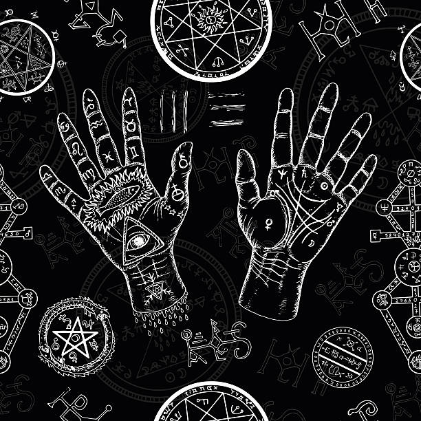 chiromancy seamless background with human hands and mystic symbols - magie stock-grafiken, -clipart, -cartoons und -symbole