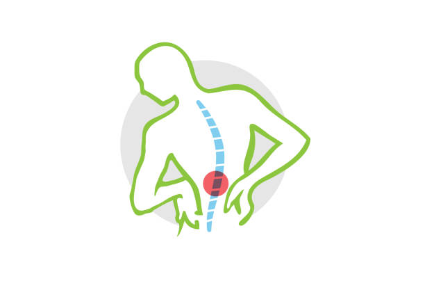 Chiropractic Body icon, Chiropractic Body Pain Exercice Vector spine diagnostics symbol design icon, backache stock illustrations