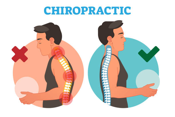 Chiropractic conceptual vector illustration with back bone curvature. vector art illustration