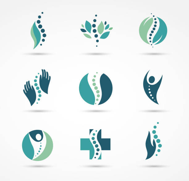 chiropractic massage back pain and osteopathy icons vector art illustration